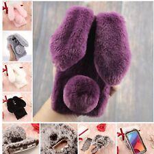 Bling Crystal Diamond Fluffy Furry Rabbit Cover Phone Case For LG LV3 K10 K11 G5