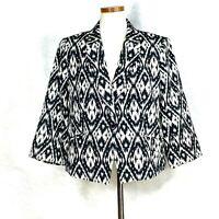 Talbots Women's Petite Black & White Cotton Blend Blazer 16P
