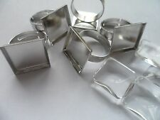 5 x18mm Square Adjustable ring Kit. Settings & 16mm Clear glass cabochons to fit