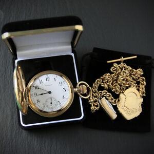 Handsome Waltham 17J Gold Filled Full Hunter Pocket Watch + Albert Chain