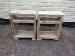 Wooden Bedside tables scaffold board, rustic, upcycled