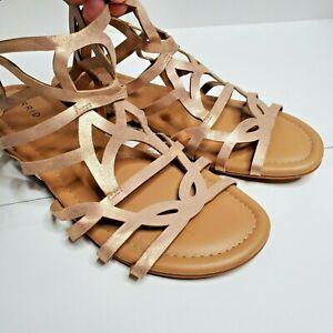 Torrid women SZ 10.5 rose gold casual everyday gladiator flat sandal strappy