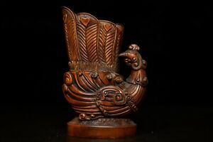 6'' China Antique wood Cup natural Boxwood phoenix Cup animal Wine glass