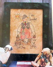 """Meme's Quilts Embroidery PATTERN 11"""" x 16"""" wallhanging birthday boy primitive"""
