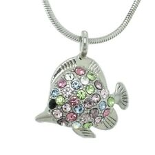 """Fish Necklace Made With Swarovski Crystal Ocean Multi Color 18"""" Chain Pendant"""
