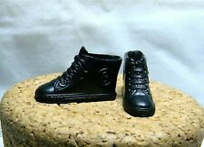 """BARBIE DOLL CONVERSE STYLE BLACK SNEAKERS INITIAL """"B"""" ON SIDE 1"""" LONG F175"""