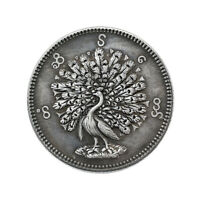 Hand Carved Commemorative Coin Vintage Myanmar Peacock Collection Souvenirs