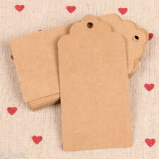 100pcs Brown Wedding Kraft Card Paper Hanging Tag Bonbonniere Favor Gift Tags