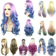 Colorful Ombre Long Straight Wavy Wigs with Bangs Cosplay Lolita Costume Pop