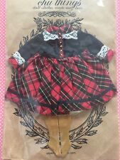 Chu Things Blythe doll Black & Red Plaid Lace Dress & Socks New in Package