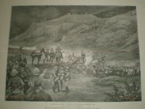 Mountain Battery in Action Chitral Expedition 1895 Woodville 1899 print ref AO