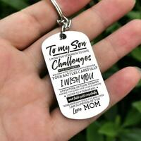 To My Son Choose Your Battle Carefully Love Mom Key Chain Military Dog Tag Gift