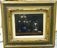 SIGNED 50's THOMAS KERRY (1929-83) STILL LIFE OIL PAINTING TITLED THE HOUR GLASS