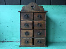 Antique Wood Spice Cabinet Box with 8 Drawers
