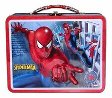 Tin Metal Lunch Snack Toy Box Embossed Amazing Spider-Man Wall Building NEW