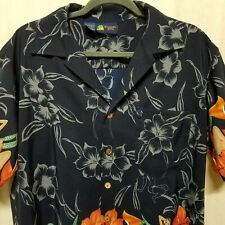83c6c8ac Roundy Bay Mens Sz L Hawaiian Camp Shirt PinUp Hula Girls Hibiscus Floral  Aloha