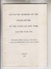 1956 BOOKLET - LIST OF MEMBERS OF THE LEGISLATURE OF THE STATE OF NEW YORK