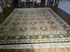 8' X 10' Hand Knotted Wool Area Rug Vegetable Dyes Handmade Paneled Palm Tree