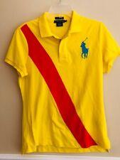 Polo Ralph Lauren  Womens Skinny Polo Shirt Sz Large Yellow w/ Red Stripe