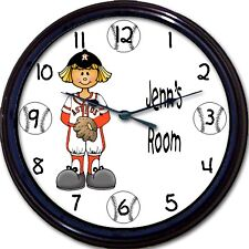 Houston Astros Personalized Girl Wall Clock MLB Baseball Minute Maid Park 10""