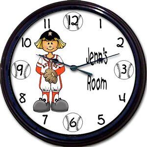 "Houston Astros Personalized Girl Wall Clock MLB Baseball Minute Maid Park 10"""
