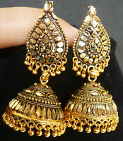 South Indian Antique Gold Plated 3.5 cm Long Jhumka Jhumki Earrings Jewelry Set