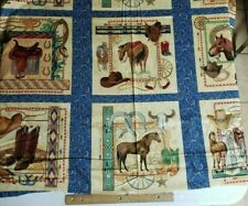 *******COWBOY RANCH FABRIC LARGE PANEL FABRIC BACK IN THE SADDLE   *********