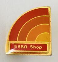 ESSO Shop Petrol Oil Brand Orange Rainbow Advertising Pin Badge Vintage (J1)