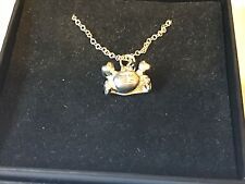 """Crab TG153 Pewter On 18"""" Silver Plated Curb Necklace"""