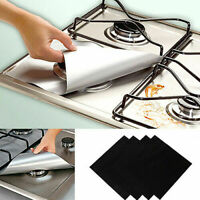 4Pcs Square Foil Gas Hob Protector Liner Reusable Easy Clean Protection Pad 606