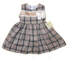 SPANISH STYLE BABY GIRLS TARTAN DRESS WITH RIBBON BOW