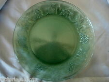 Unusual Sage Green Pressed Glass Grapes/Apples/Peach/Pears/Fruit Rimmed Plate
