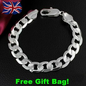 *New* Mens Curb Chain Bracelet Sterling Silver 925 Chunky + Free Gift Bag ***