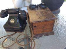 ANTIQUE WESTERN ELECTRIC D1 TELEPHONE HANDSET E1 & HAND CRANK OAK RINGER BOX