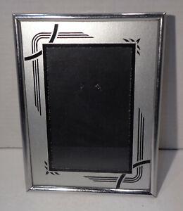 "Art Deco Reverse Painted 6"" x 8"" Chrome Silver & Black Frame!"