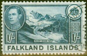 Falkland Is 1938 1s Dull Blue Greyish Paper SG158b V.F.U