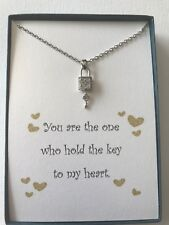 Key To My heart Platinum Plated Lock and Key Pendant Necklace w/ love poem