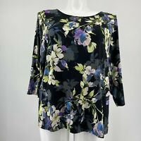 J Jill Wearever Collection Top Black Floral 3/4 Sleeve Knit Shirt Size XL