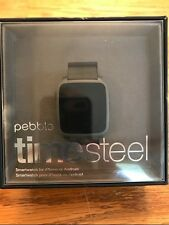 PEBBLE TIME STEEL 38mm STAINLESS STEEL CASE BLACK FOR IPHONE OR ANDROID NEW