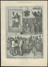 1889 Antique Print CEYLON Sri Lanka COLOMBO VIEWS Arabi Pasha Trading Ship (344)