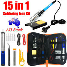 15IN1 Soldering Iron Kit 60W Electronics Welding Tool Adjustable Temperature AU