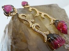 NATURAL MULTI TOURMALINE CARVED LEAVES DIAMOND 18K YELLOW GOLD DANGLE EARRING