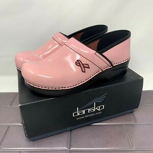 Dansko Clogs Pink Patent Leather Pink Ribbon Breast Cancer Womens Size EU 40