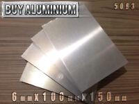6mm Aluminium Plates / Sheets 150mm x 100mm - 5083