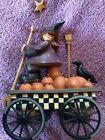 Williraye+W6028+Harvest+Magic+Halloween+Witch+Wagon+Pumpkin+Folk+Art-See+Desc
