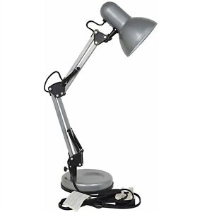 STATUS – VALENCIA ANGLED DESK LAMP, SILVER - FOR BEDSIDE - FAST & FREE DELIVERY