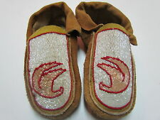 NATIVE AMERICAN BEADED HOMETANNED MOOSE HIDE MOCCASINS 9 INCHES LONG FLYING BIRD