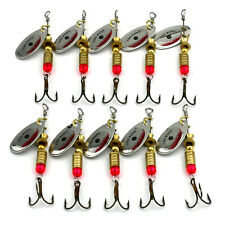 10 Pcs/Set Metal Fishing Baits Metal Silvery Spinner Lures Fishing Gears 6.3cmFF