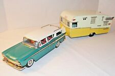 Vintage Bandai Tin Toy Rare 50s Nash Rambler & Shasta RV Trailer Holiday Express