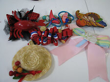 LOT 6 Vtg FRENCH HAIR CLIPS BARRETTES BOWS Holiday CHRISTMAS BEACH 4TH 80/90's